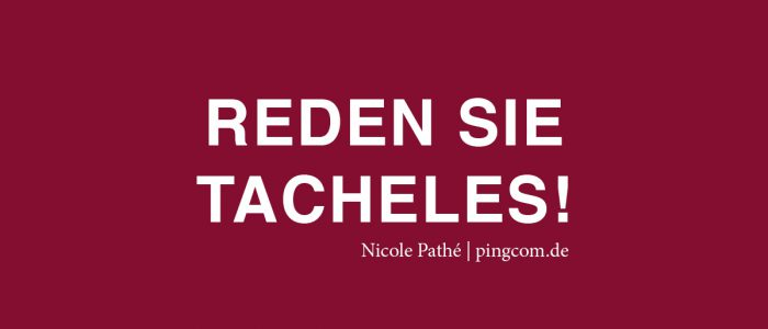 Rden Sie Tacheles! Nicole Pahté